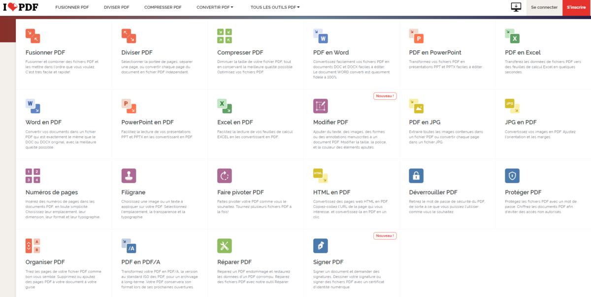 Aperçu des différents outils disponibles sur Ilovepdf