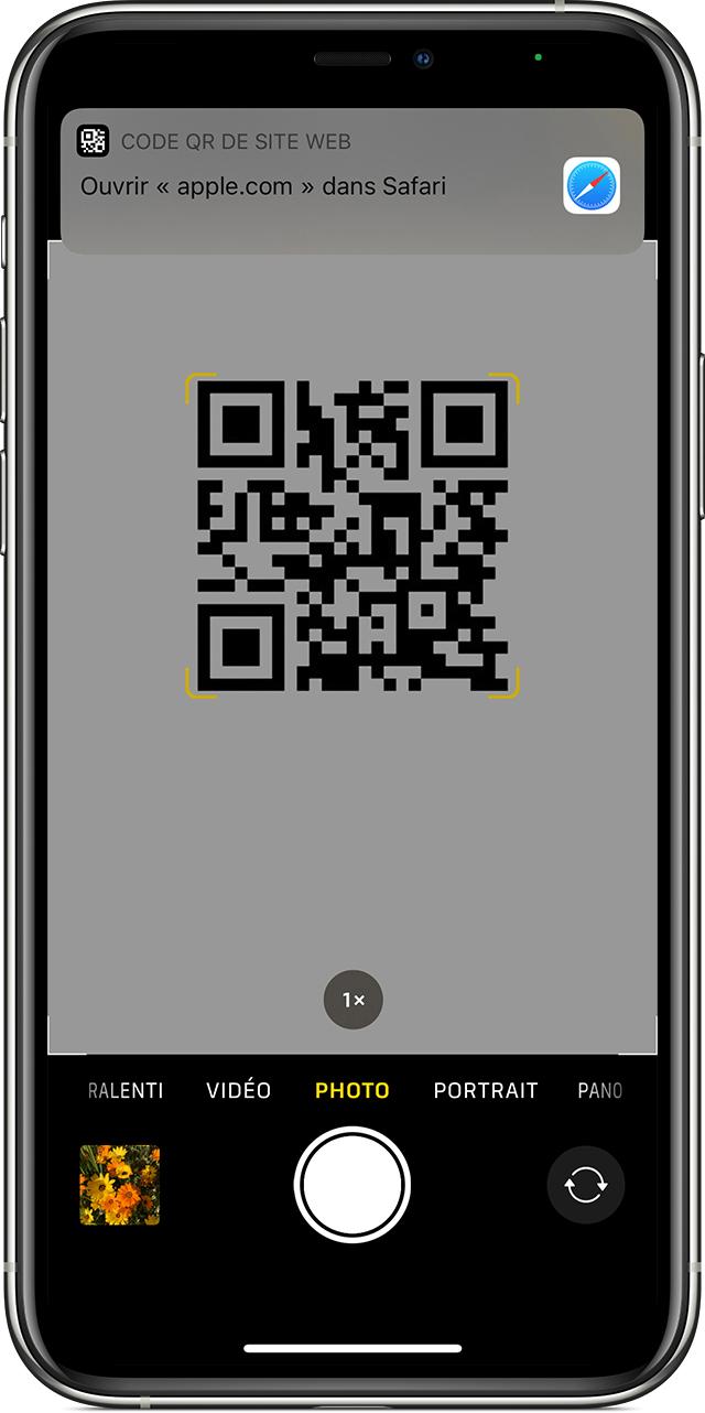 Capture d'écran d'un scan de QR code avec un iPhone d'Apple
