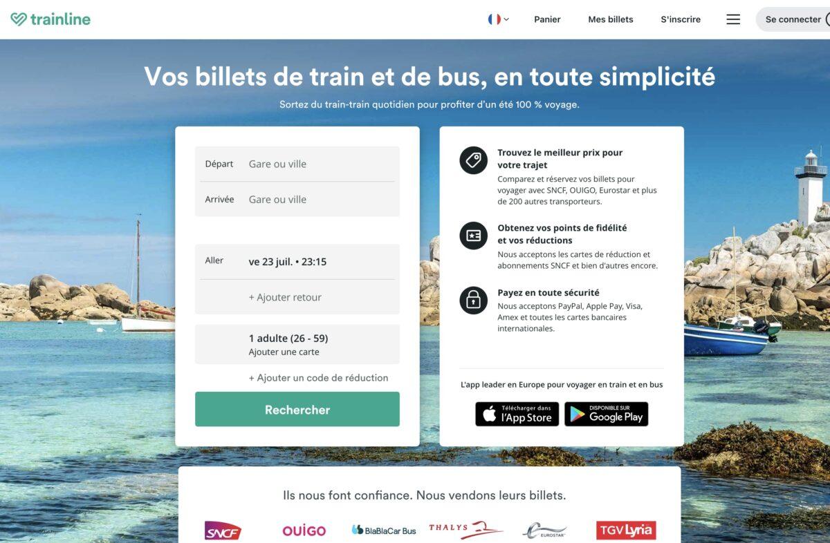 Site internet de Trainline (anciennement Capitaine Train)